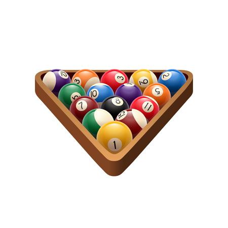 Pool billiards balls in triangle vector game icon illustration.