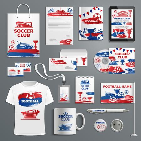 Advertising soccer football club vector icons illustration. Иллюстрация
