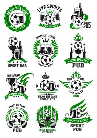 Vector soccer sport bar football pub icons set illustration.