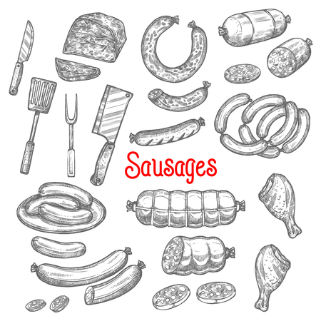 Vector sketch meat sausage products icons set illustration.