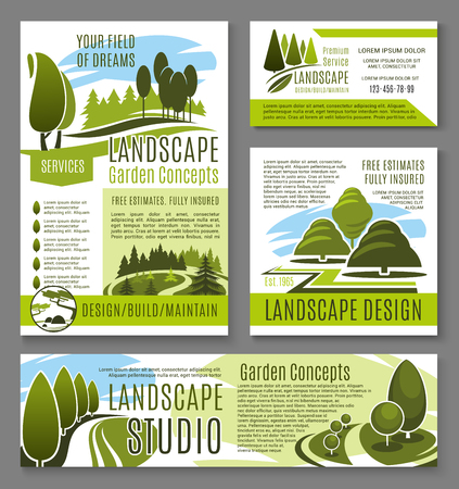 Vector landscape garden design concept posters illustration.