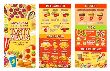 Vector fast food street food restaurant cafe menu illustration.