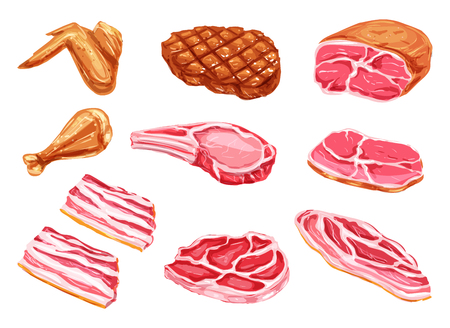 Vector meat products watercolor paint icons illustration.