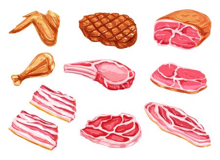 Vector vleeswaren aquarel verf pictogrammen illustratie. Vector Illustratie