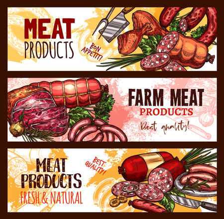 Vector meat farm products sketch banners illustration.