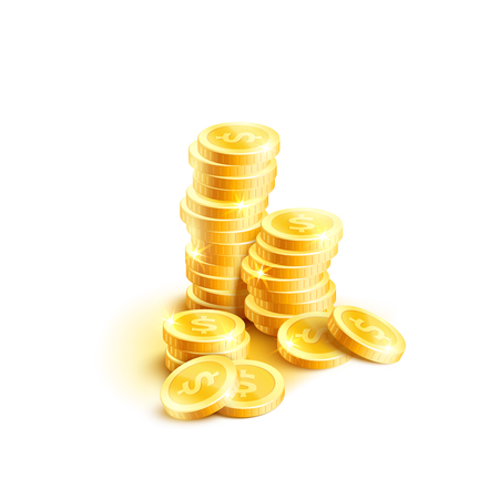Vector coins pile icon of golden dollar coin cents illustration.