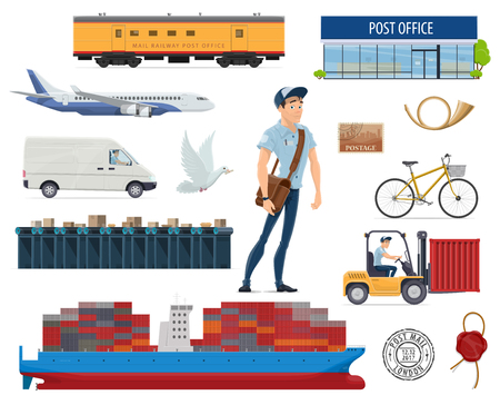 Post mail delivery and postman vector flat icons illustration.