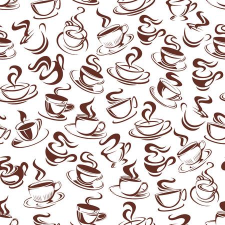 ベクトルコーヒーカップシームレスパターン背景イラスト。  イラスト・ベクター素材