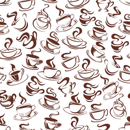 Vector coffee cup seamless pattern background illustration.