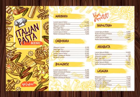 Vector Italian pasta restaurant menu template illustration. 일러스트