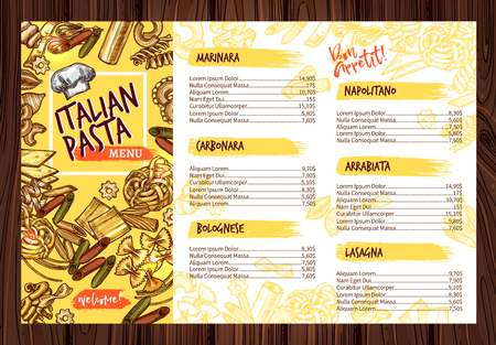 Vector Italian pasta restaurant menu template illustration. Vectores