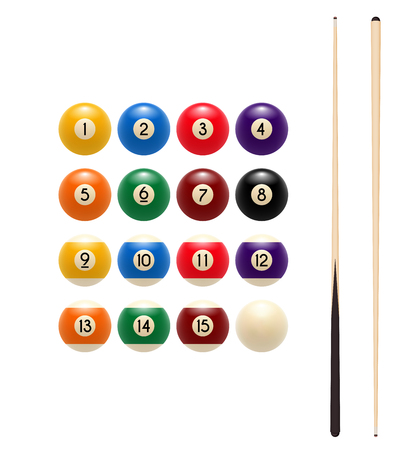 Pool billiards balls and cue vector game icon illustration.