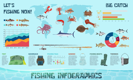 Vector fishing sport info-graphics template design illustration.
