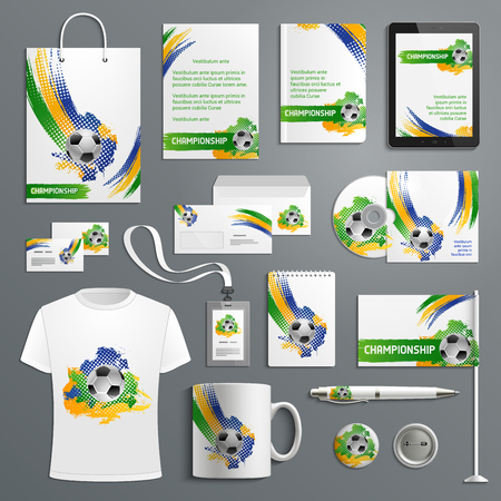 Advertising soccer football cup vector materials illustration. Vettoriali