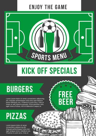 Vector soccer sport bar football pub menu design illustration. Illustration