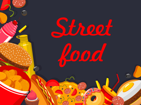 Vector fast food street food restaurant poster illustration. Illustration