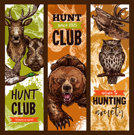 Vector hunt club open season sketch banners illustration. Ilustração