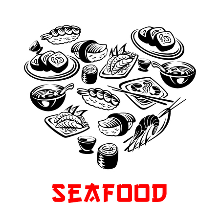 Vector Japanese seafood sushi heart banners illustration. Illustration