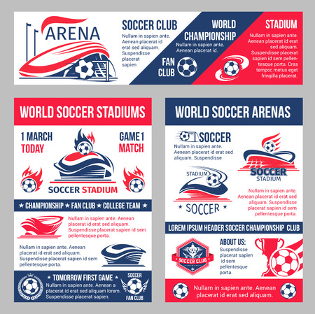 Vector soccer game championship posters template illustration.