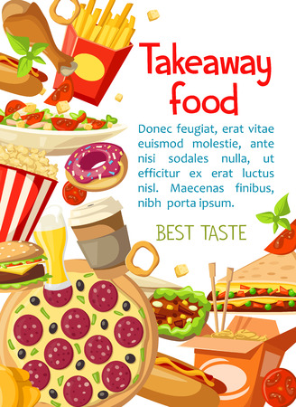 Vector takeaway fast food meals poster illustration. Illustration