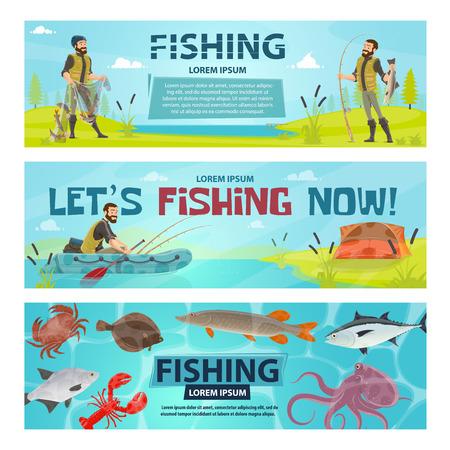 Vector fisherman sport fishing vector banners illustration.