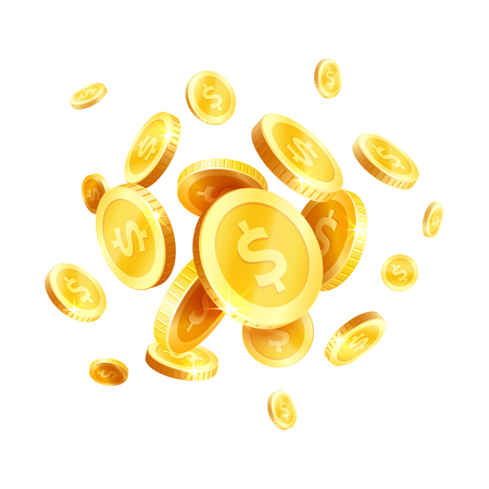 Vector golden coins splash splatter icon
