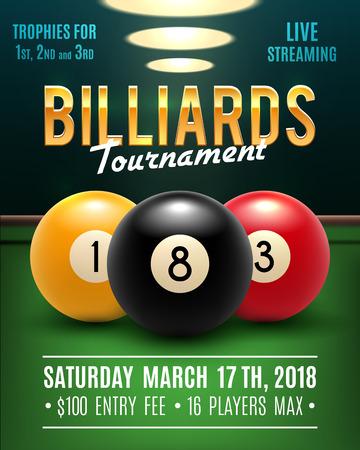 Pool billiards vector tournament poster illustration.