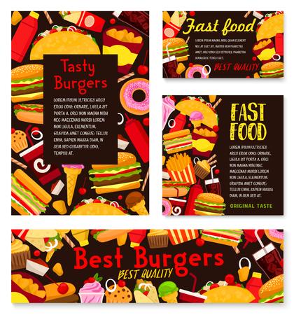 Vector fast food burgers restaurant posters