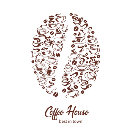 Vector coffeehouse poster of coffee cups and bean Banque d'images - 96968218