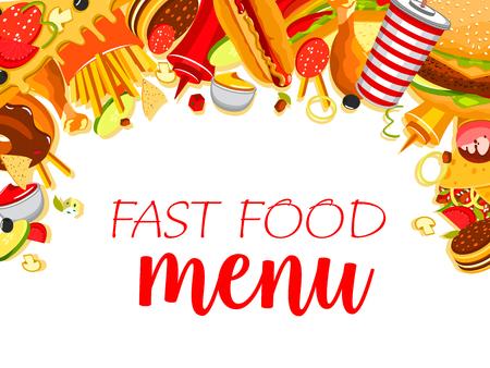 Vector fast food meals menu poster