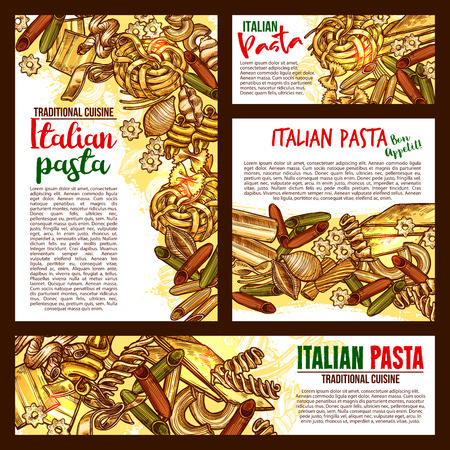 Vector Italian pasta cuisine sketch posters illustration. Stock Vector - 97099172
