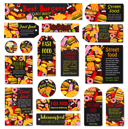 Vector fast food meals and snacks tags set illustration. Illustration