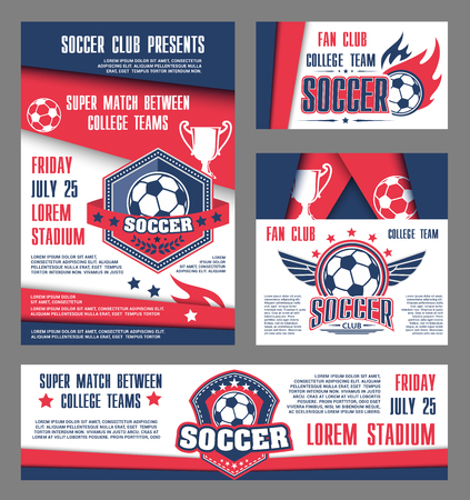 Vector soccer team college football match posters illustration.