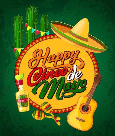 Felice banner festivo Cinco de Mayo con simboli di festa fieristica latinoamericana. Sombrero del festival, maracas e chitarra, tequila, cactus e poster di stamina. Puebla battle anniversario auguri design