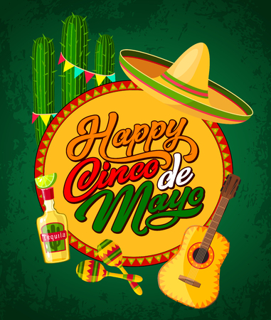 Happy Cinco de Mayo festive banner with Latin American fiesta party symbols. Festival sombrero, maracas and guitar, tequila, cactus and bunting poster. Puebla battle anniversary greeting card design Illustration