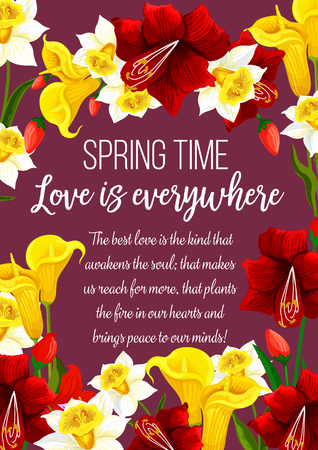Springtime flowers with love quote greeting card.