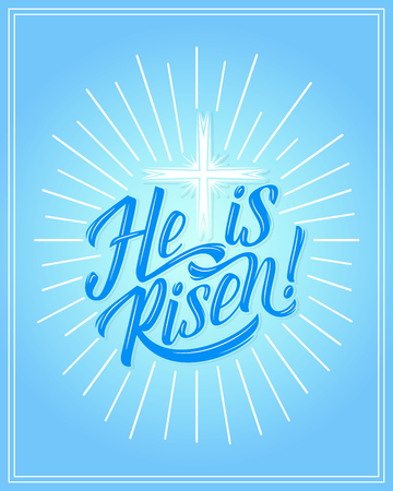 Vector Easter holiday He is Risen greeting card with cross on blue background. Ilustração