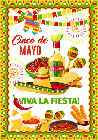 Cinco de Mayo Mexican vector fiesta greeting card