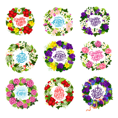 Happy Easter holiday icons of spring flowers bunches and crucifix cross for Christian traditional religious celebration. Vector blooming crocus, tulip and rose wreath for Easter greeting card design