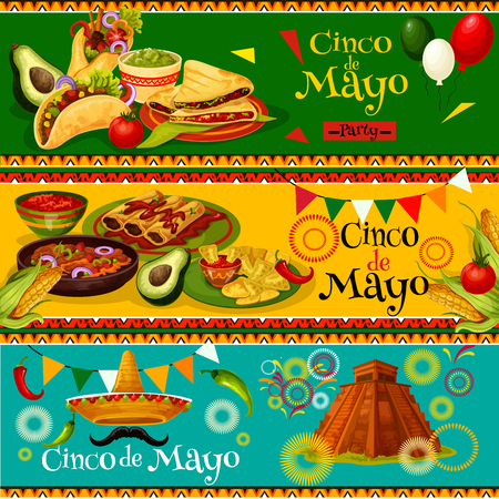 Cinco de Mayo Mexican vector party banners Stock Illustratie