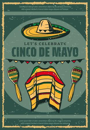 Cinco de Mayo Mexican sombrero retro sketch poster