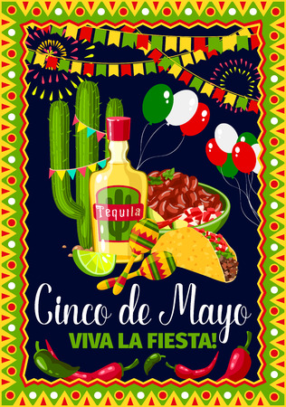 Cinco de Mayo Mexican holiday vector greeting card Standard-Bild - 97437907