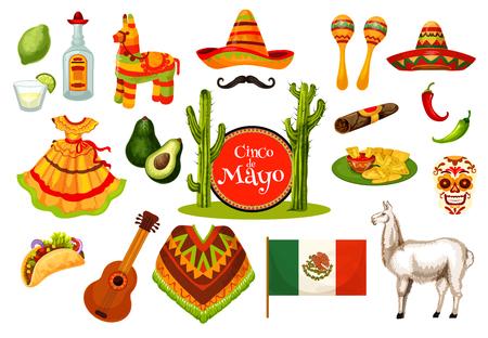 Cinco de Mayo Mexican fiesta party icon design illustration. Illustration