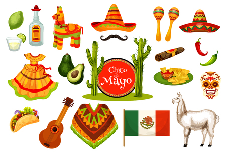 Cinco de Mayo Mexican fiesta party icon design illustration. Çizim