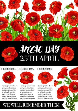 Anzac Day memorial banner with red poppy flower illustration.