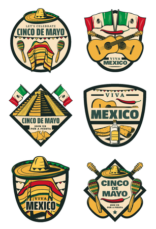 Cinco de Mayo Mexican fiesta holiday sketch icons illustration.