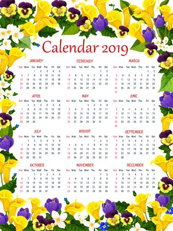 Year calendar template with spring flower frame illustration.