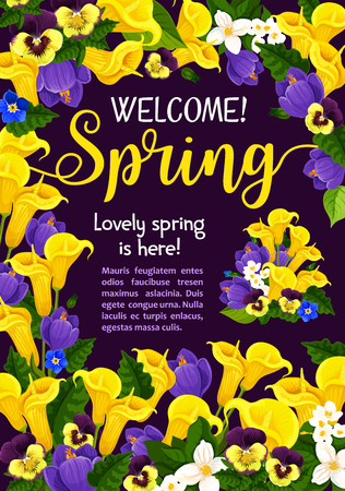 Spring Season Holiday welcome banner with flower illustration.