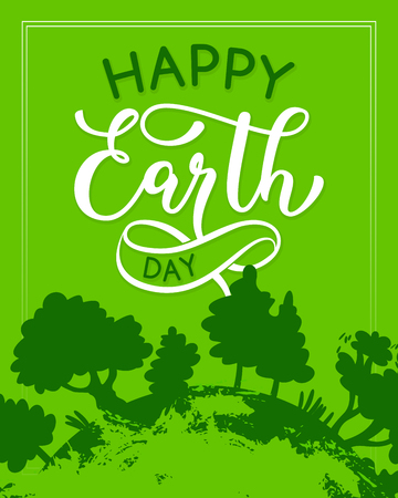 Vector Happy Earth Day green ecology greeting card illustration. Illustration