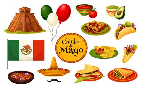 Cinco de Mayo Mexican holiday traditional symbol illustration.